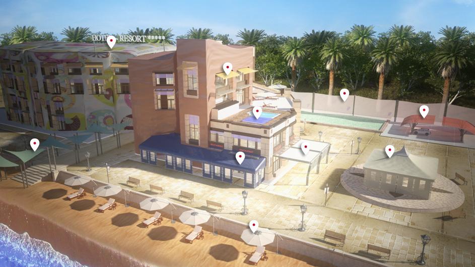 vue 3D Café, Hôtel, Restaurant