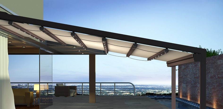 Pergola r tractable b ches m diterran e for Pergola bioclimatique retractable